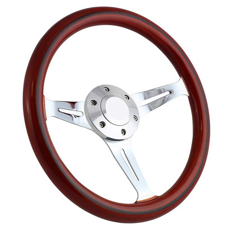 Forever Sharp 14 6 Bolt Empire Wood Wheel - Chrome Spokes - Light Mahogany Wood with Black Stripe
