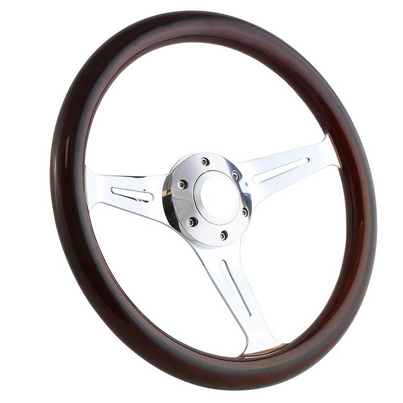 Forever Sharp 14 6 Bolt Empire Wood Wheel - Chrome Spokes - Dark Mahogany Wood with Black Stripe