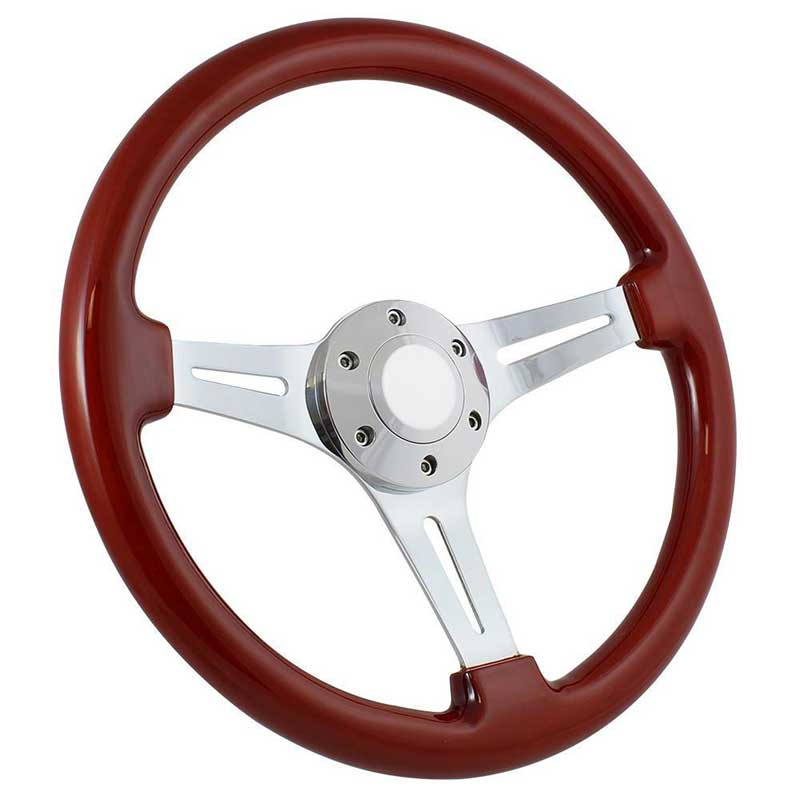 Forever Sharp 14 6 Bolt Classic Wood Wheel - Chrome Spokes with Light Mahogany Wood