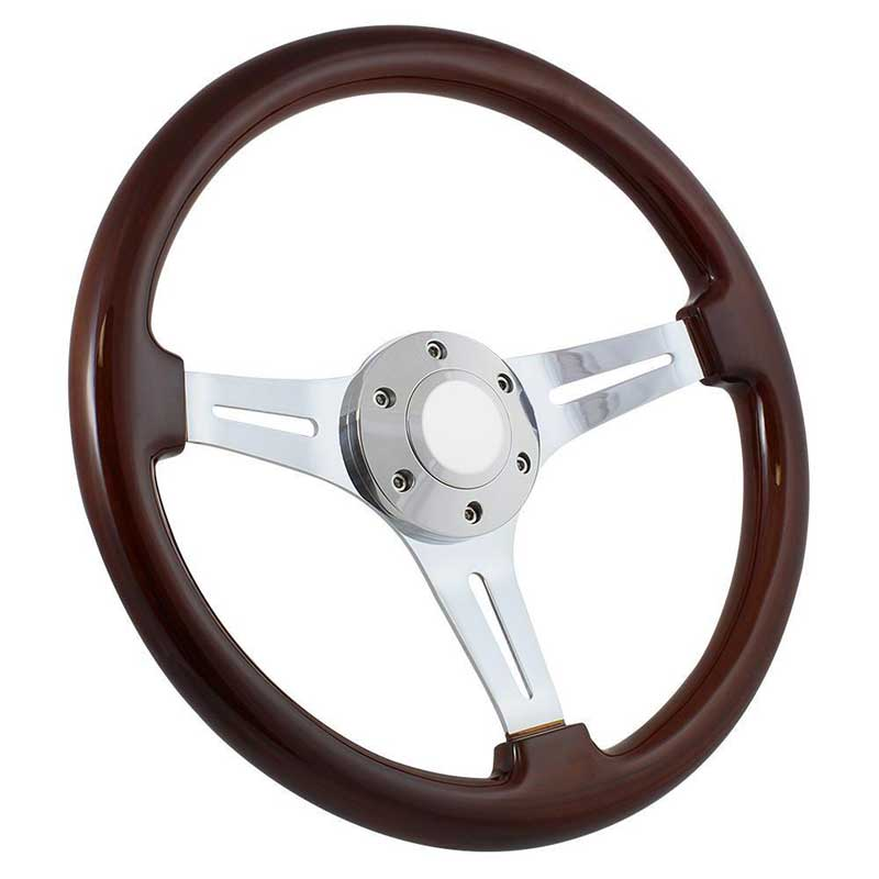 Forever Sharp 14 6 Bolt Classic Wood Wheel - Chrome Spokes w/Dark Mahogany Wood