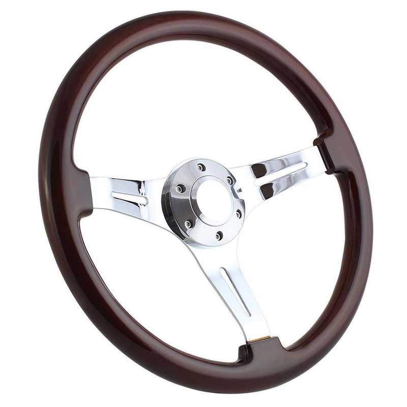 Forever Sharp 15 6 Bolt Classic Wood Wheel - Chrome Spokes with Dark Mahogany Wood
