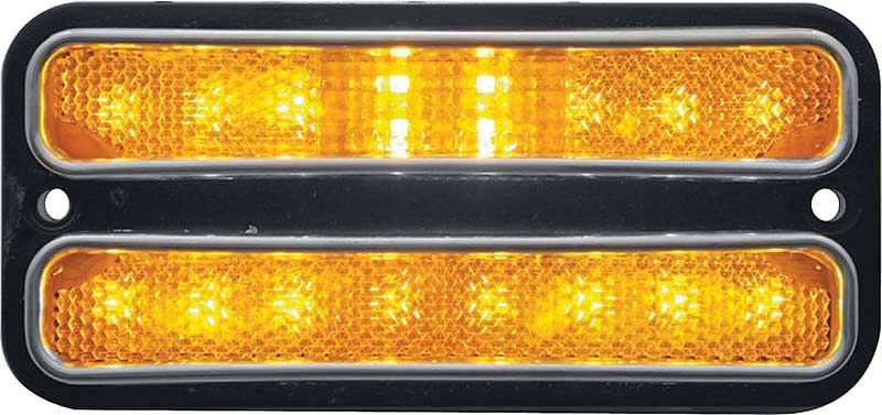 1968-72 GM Truck - Front LED Side Marker Light with Stainless Steel Trim - Amber