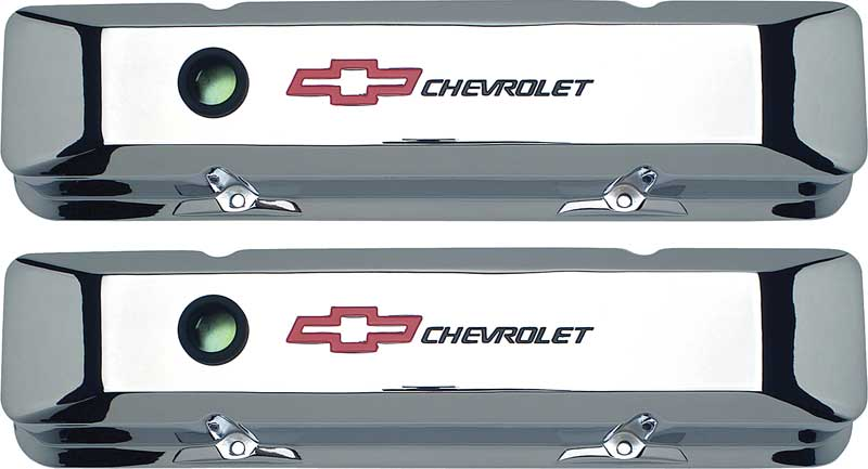 Chevrolet 262-400ci Small Block Bow Tie Die Cast Crome Finished Aluminum Tall Valve Covers