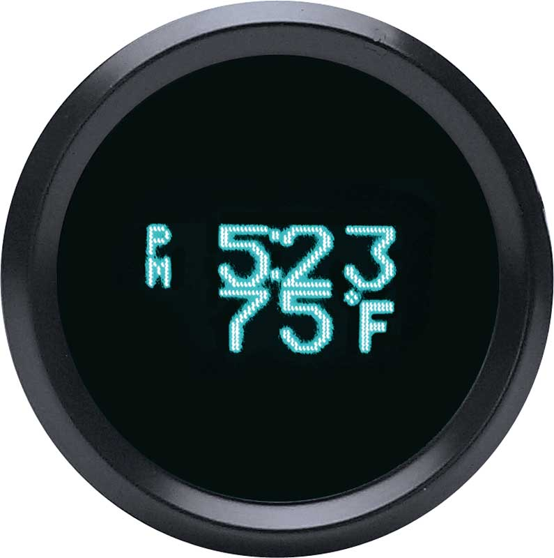 Odyssey Series II Digital Clock / Day-Date / Temperature with Black Bezel and Teal Illumination