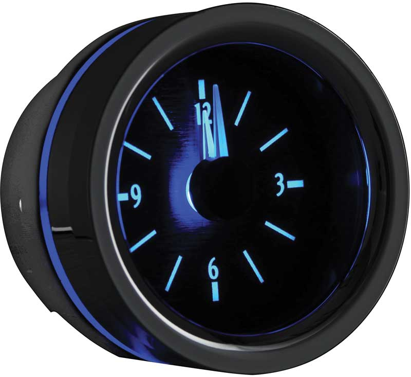1955-56 Chevrolet VLC Series Analog Clock with Black Alloy Face and Blue Illumination