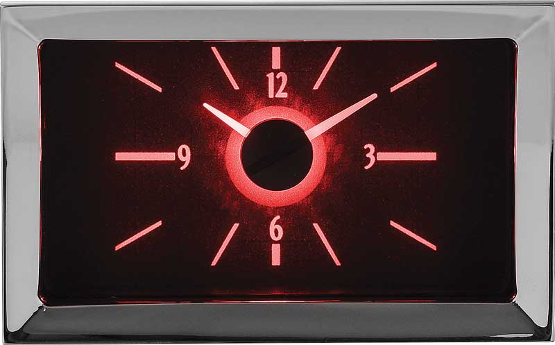 1957 Chevrolet VLC Series Analog Clock with Carbon Fiber Look Face and Red Illumination