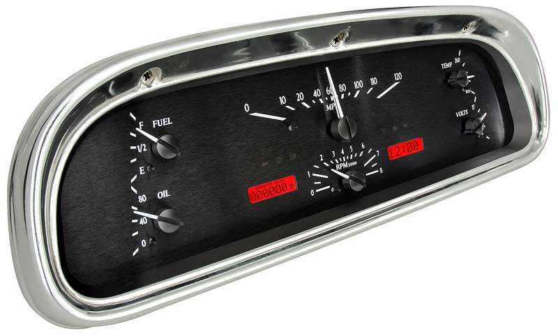 1960-63 Ford Falcon Dakota Digital VHX Instrument System - Black Alloy Style Face - Red Display