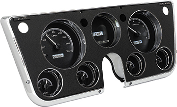 1967-72 GM Pickup VHX Series Gauge Set with Black Alloy Face and White Backlighting