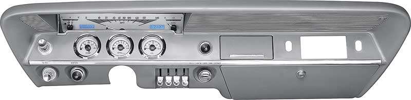 1961-62 Impala / Full-Size VHX Gauge System with Silver Alloy Face and Blue Illumination