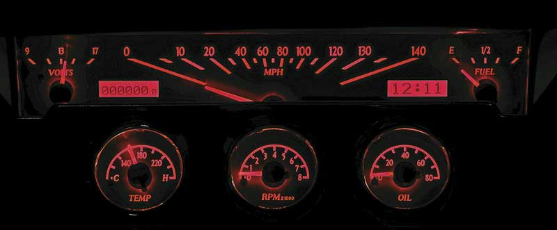 1961-62 Impala / Full-Size VHX Gauge System with Silver Alloy Face and Red Illumination