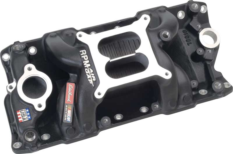 Edel Performer RPM Air Gap-Nascar Edition Manifold Black Fin, For 1955-86 Small Block Chevy-Non-EGR