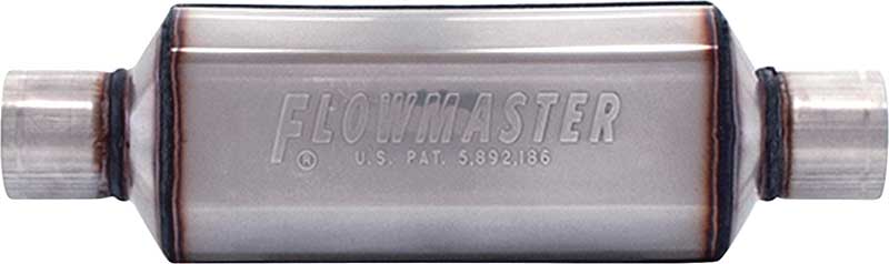 Flowmaster 12 Super HP-2 Muffler with 304S Polishable Stainless Steel Case; 2-1/2 Inlet/Outlet