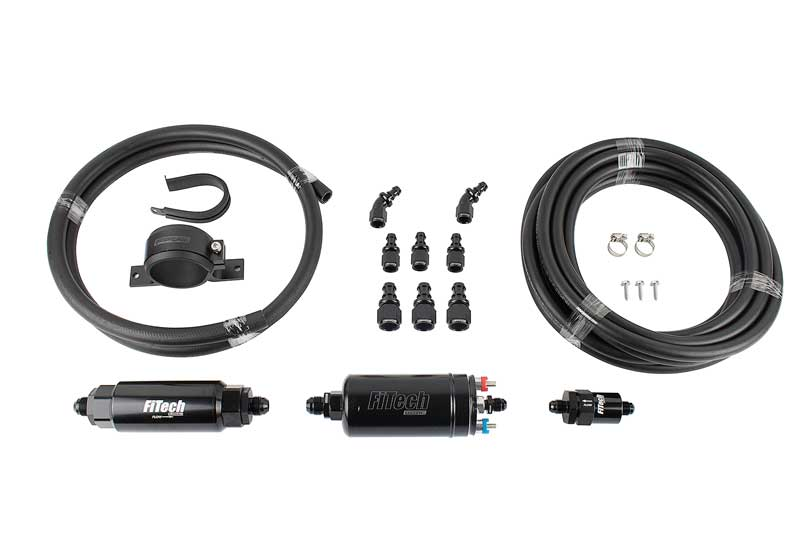 FiTech Go EFI 4 Self Tuning Fuel Injection 600HP Tumbled Finish - Master Kit w/ Inline Fuel Pump
