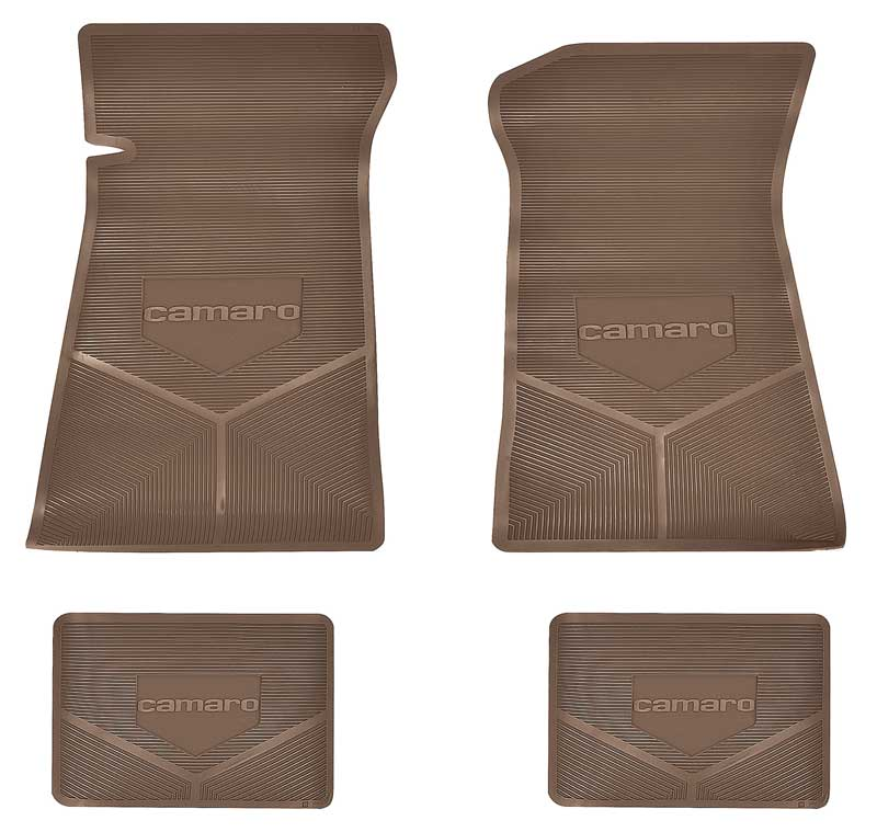 1975-81 Camaro Black Custom Vintage 4 Piece Floor Mats Set With Camaro Logo