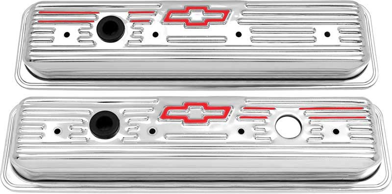 1987-Up Small Block 305-350ci Chrome Center Bolt Valve Covers with Red Bow Tie