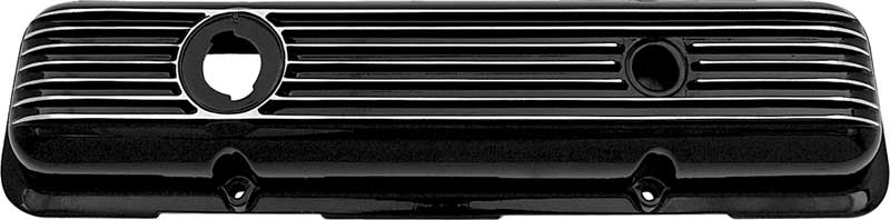 1959-86 Chevrolet Small Block LH Black Powder Coated Finned Aluminum Valve Cover