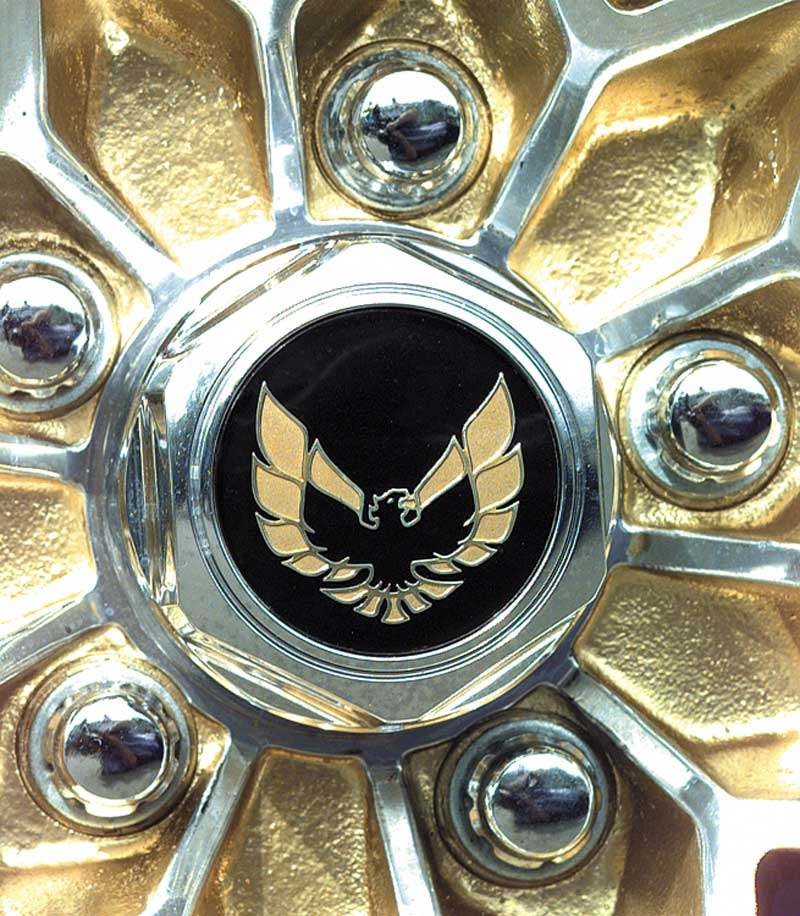 1977-92 Firebird Aluminum Wheel Center Cap Emblem Gold 2-1/8 diameter OE GM
