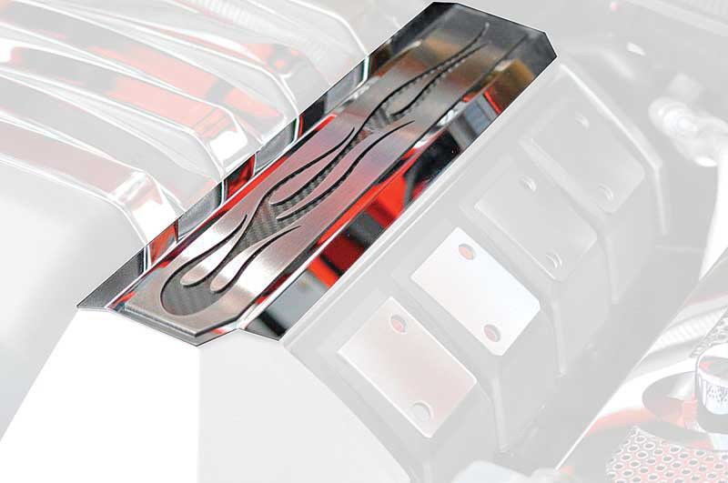 2010-13 Camaro Fuel Rail Covers True Flames With Black Vinvl Carbon Fiber Inlay