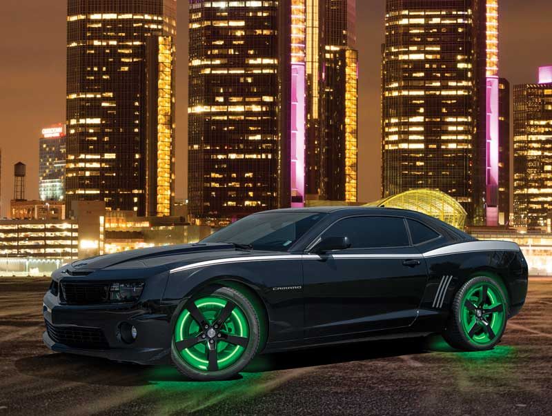 2010-17 Camaro Green LED Illuminated Wheel Rings