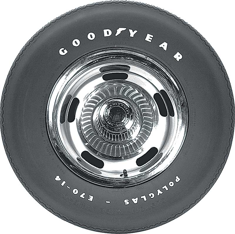 e7014 goodyear 22 polyglas tire with custom wide tread and raised white