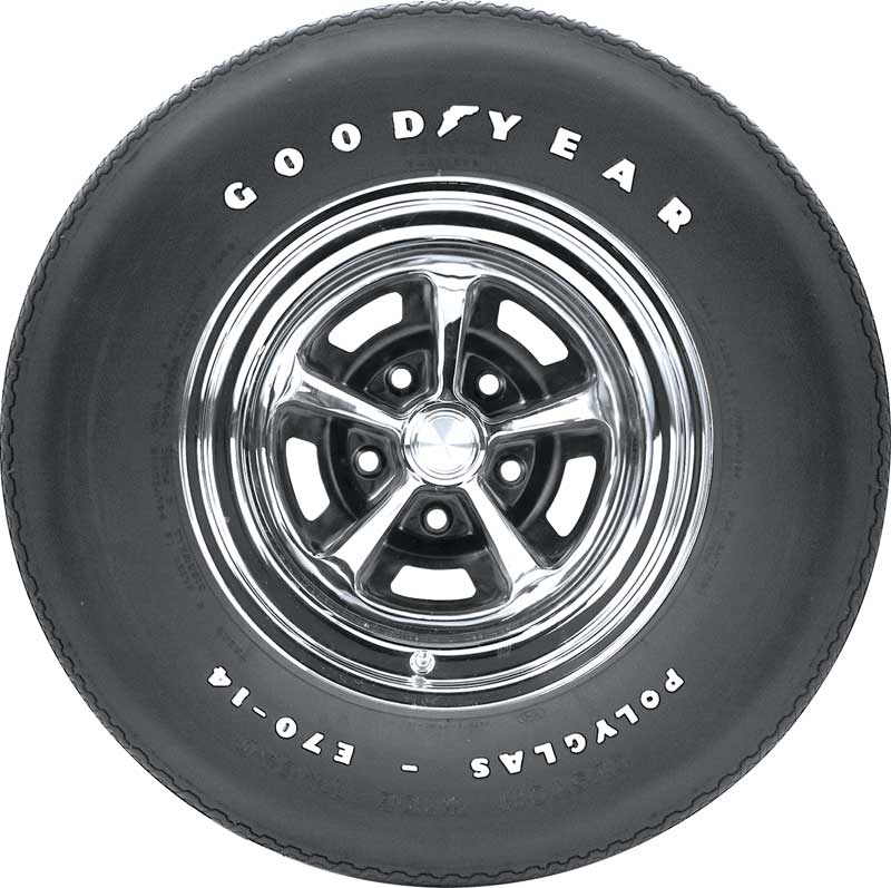 E70/14 Goodyear 2/2 Polyglas Tire with Custom Wide Tread and Raised White Letters