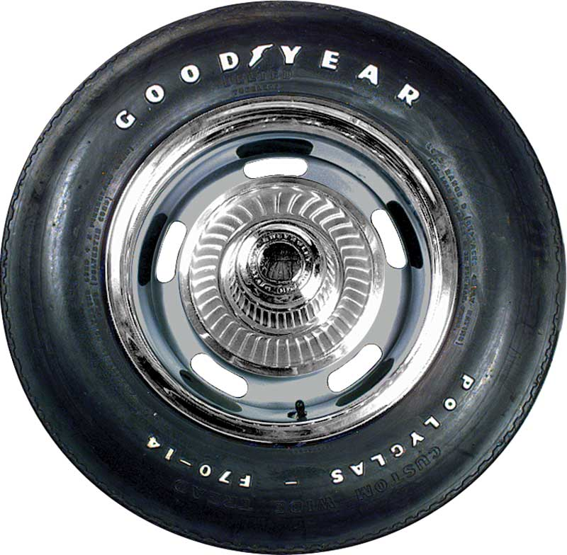 F70/14 Goodyear 2/2 Polyglas Tire with Custom Wide Tread and Raised White Letters