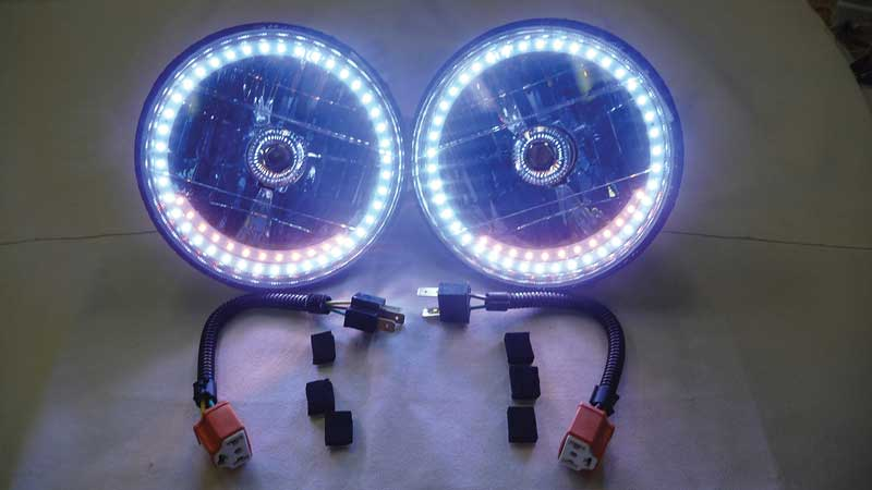 Redline 7 Round White Diamond Headlamps w/Single Color Halo & Turn Signals - Blue H4 Halogen Bulbs