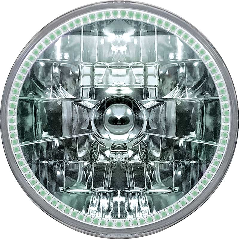 Oracle 7 H4 Sealed Beam Smd Halo Headlight - Green