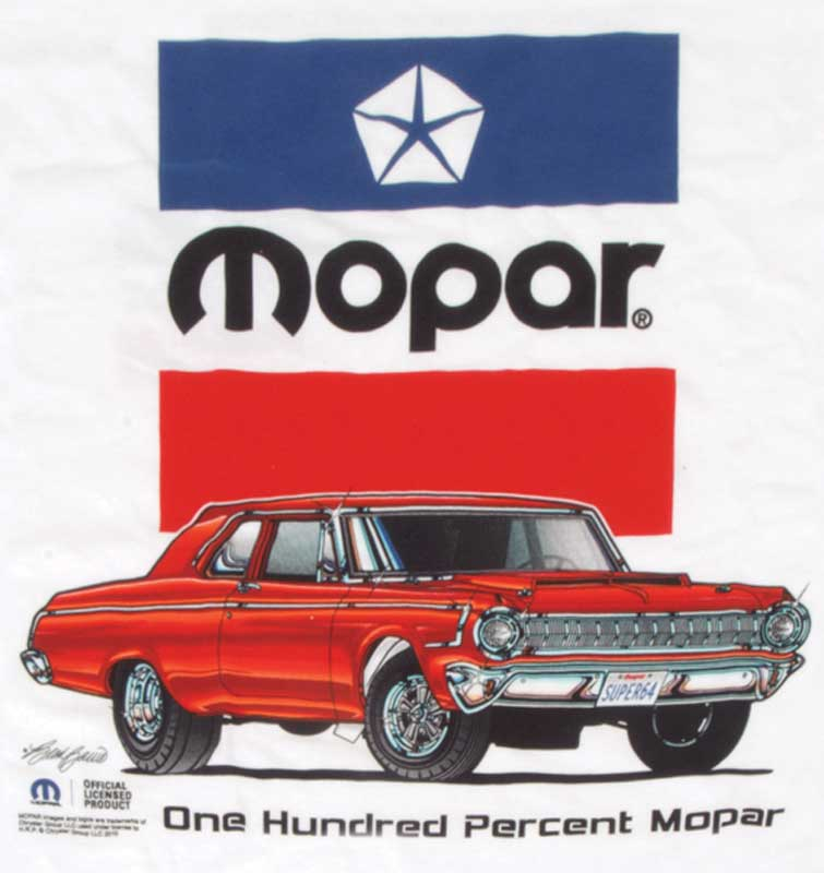 ONE HUNDRED PERCENT MOPAR LARGE WHITE T-SHIRT