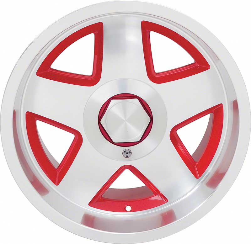 1982-2002 Camaro / Firebird 17 x 9.5 5-Spoke R15 Aluminum Wheel with Red Accents