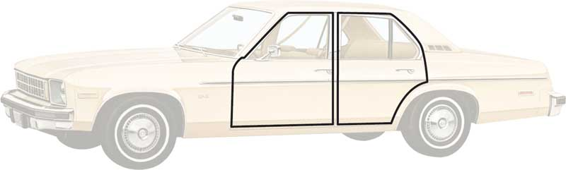 1975-79 Nova and X-Body Rear Door Weatherstrip - 4 Door Sedan - Pair
