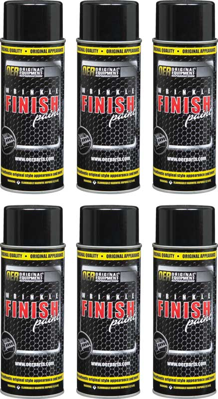 OER® Black Wrinkle Finish Paint Case of 6 - 16 Oz Aerosol Cans