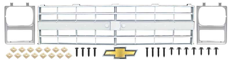 Grille Assembly Compatible with GMC C//K FULL SIZE P//U 1988-1993 Paint to Match with Single Sealed Beam Headlight Holes