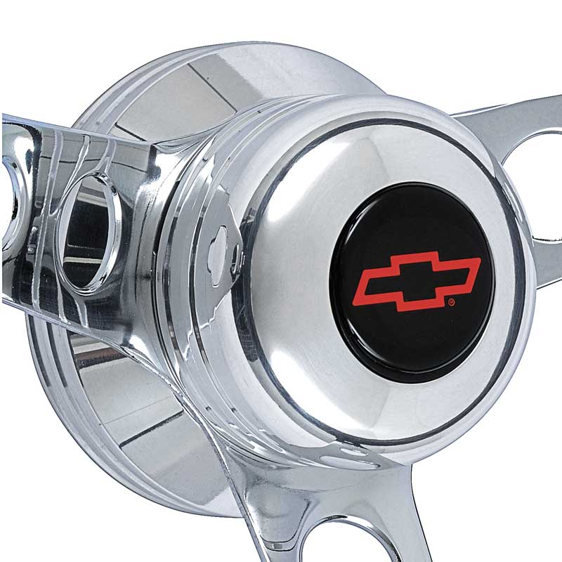 1957-69 GT Classic Foam Grip Steering Wheel Kit; Polished Hub; Standard Red Bow Tie Horn Button
