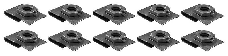 J-Type Clip Nut Set, Fits 5/16-18 bolts, Black Phosphate Coated, 10 Piece Set