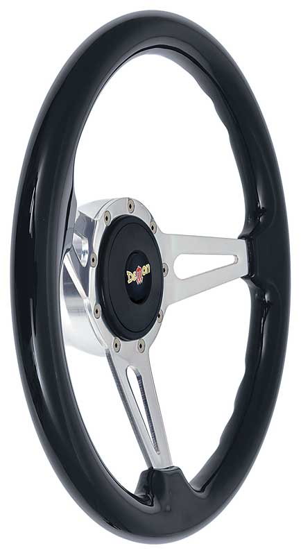 1961-69 Mopar - Black Ash Wood Steering Wheel Kit with Teardrop Spokes - Demon Logo