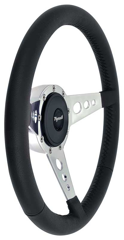 1970-75 Mopar - Black Leather Steering Wheel Kit with Round Hole Spokes - Plymouth Logo