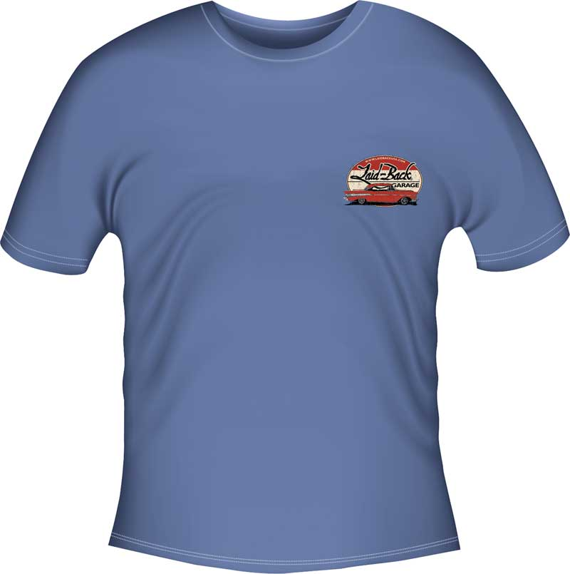 X-Large Laid-Back Epic Chevy Garage Blue T-Shirt