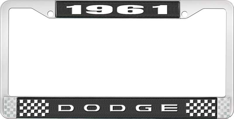1960 Dodge License Plate Frame - Black and Chrome with White Lettering