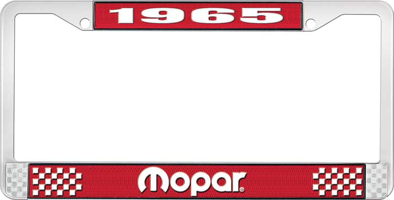 1965 Mopar License Plate Frame - Red and Chrome with White Lettering