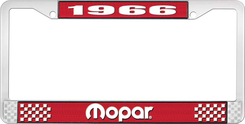 1966 Mopar License Plate Frame - Red and Chrome with White Lettering