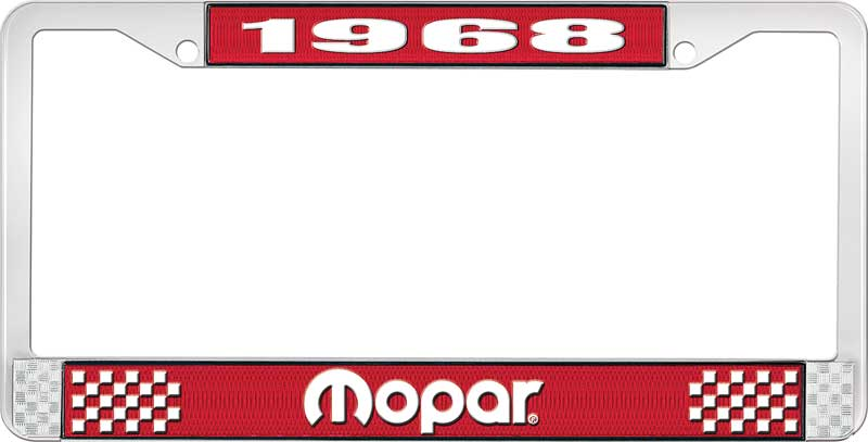 1968 Mopar License Plate Frame - Red and Chrome with White Lettering