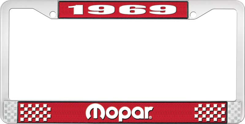 1969 Mopar License Plate Frame - Red and Chrome with White Lettering