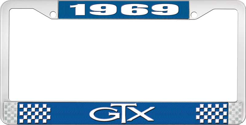 1969 GTX License Plate Frame - Blue and Chrome with White Lettering