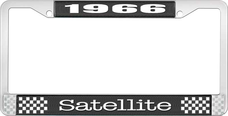 1966 Satellite License Plate Frame - Black and Chrome with White Lettering