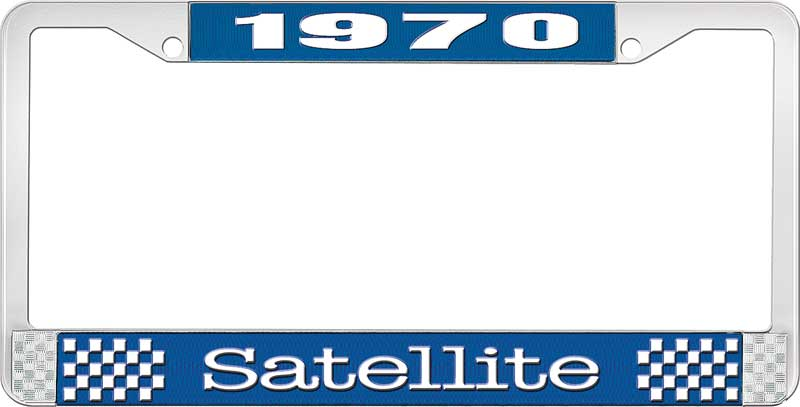 1970 Satellite License Plate Frame - Blue and Chrome with White Lettering