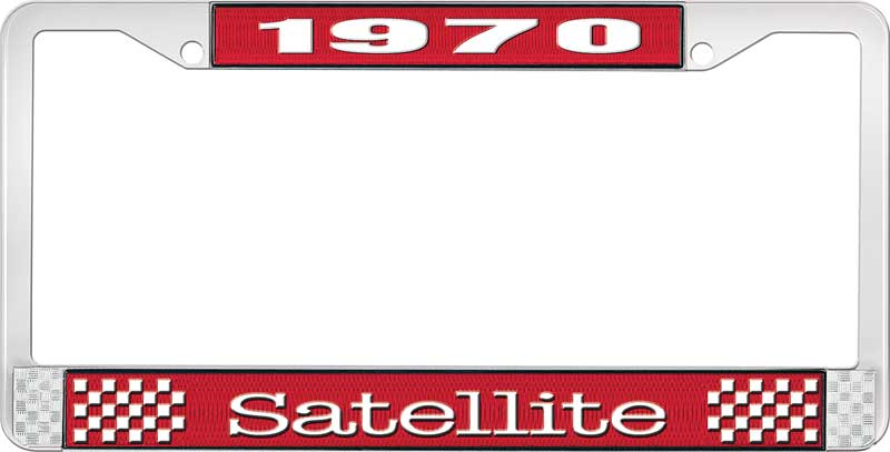 1970 Satellite License Plate Frame - Red and Chrome with White Lettering
