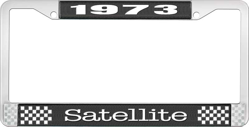 1973 Satellite License Plate Frame - Black and Chrome with White Lettering