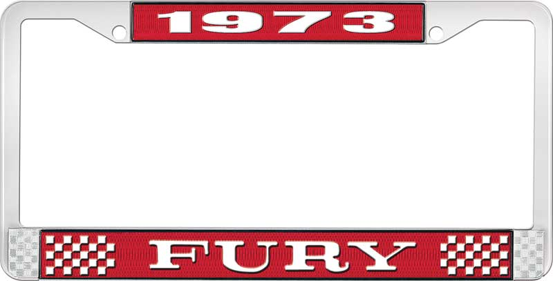 Red and Chrome with White Lettering 1973 /'Cuda License Plate Frame