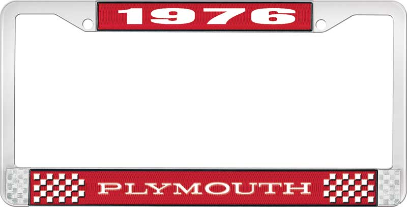 1976 Plymouth License Plate Frame - Red